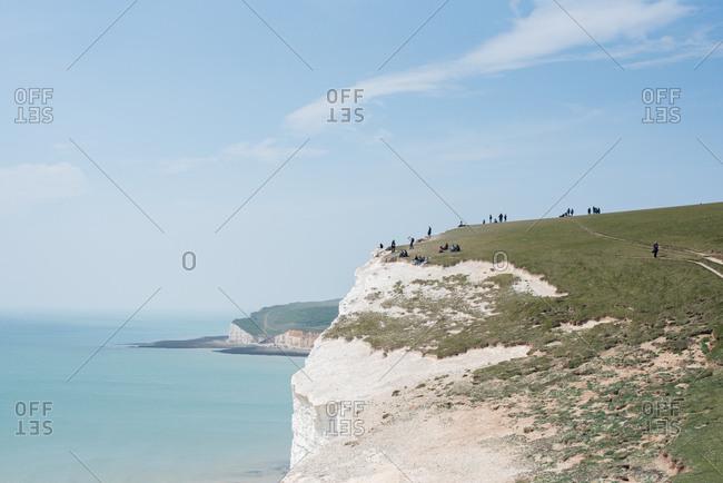 White chalk cliffs in Sussex, England