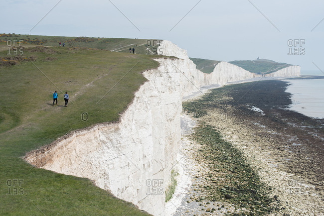 White chalk cliffs of Sussex, England