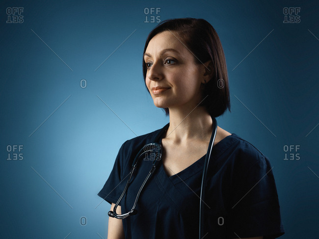 A female healthcare worker in portrait