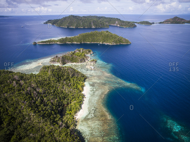High angle view of Raja Ampat Islands against sky