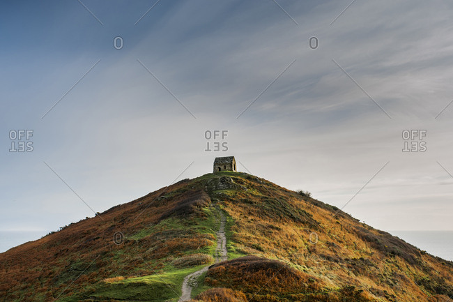 Low angle view of Rame Head against sky