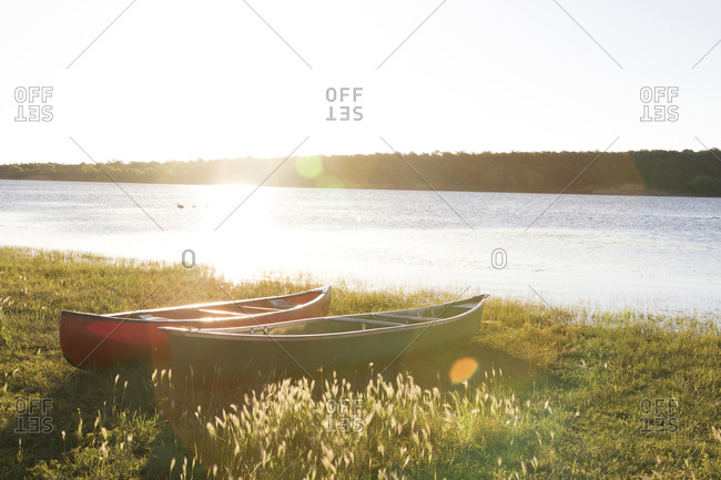 Canoes on grassy field by sea against clear sky during sunny day