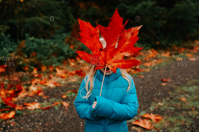 Girl covering face with large leaf