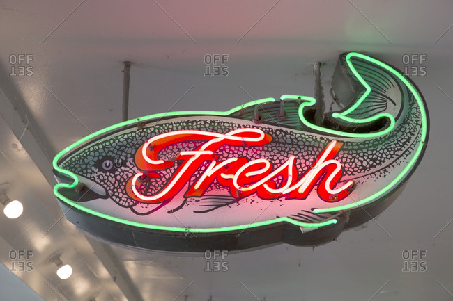 Fresh fish neon sign