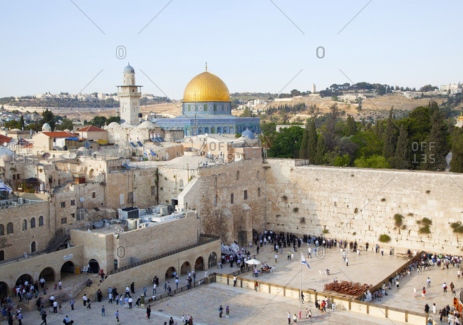 Jerusalem, Israel - June 14, 2011: View of Old City and Western Wall