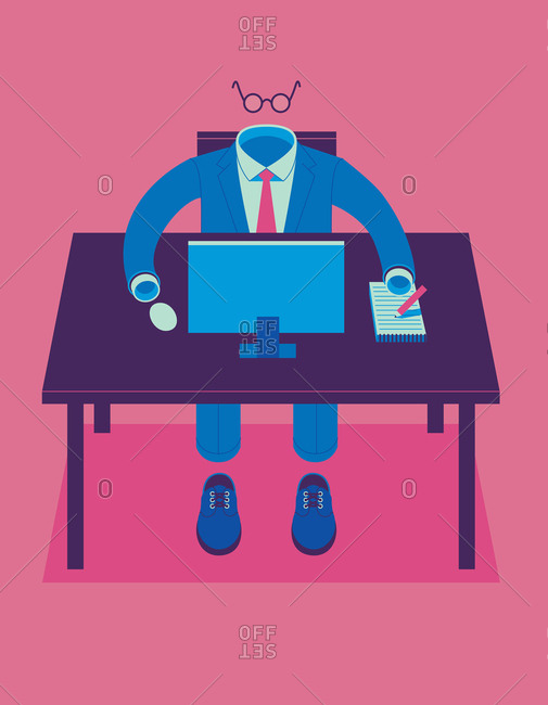 Empty business suit working at desk