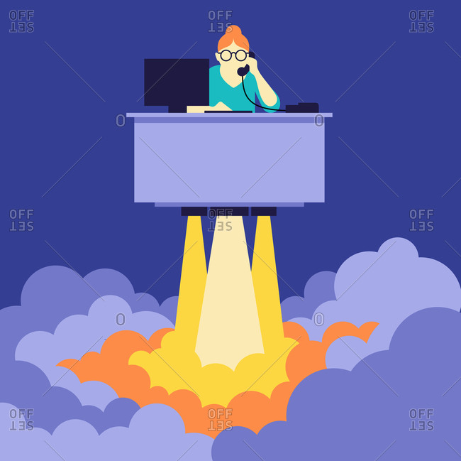 Businesswoman at desk lifting off