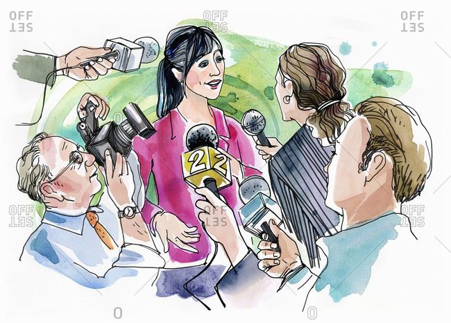 Woman giving an interview - Offset