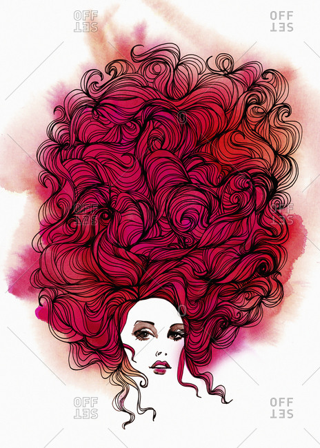 Portrait of a beautiful woman with big hair