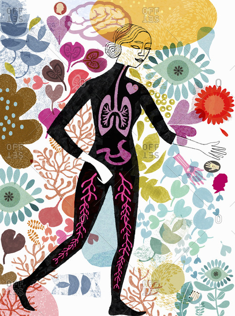 Woman with visible internal organs surrounded by flowers
