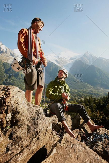 Two rock climbers resting, Chamonix, Haute Savoie, France