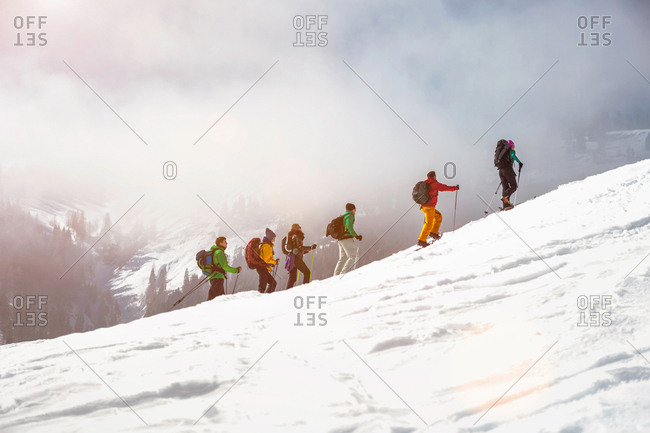 Cross country skiers going uphill