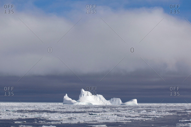 Iceberg and ice floe in the Southern Ocean, 180 miles north of East Antarctica, Antarctica