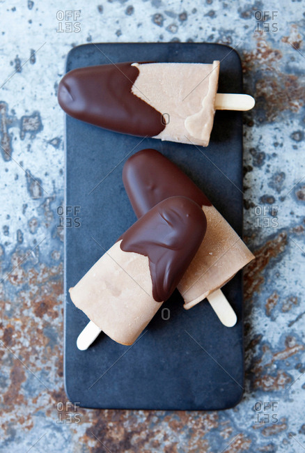 Ice cream bars dipped in chocolate
