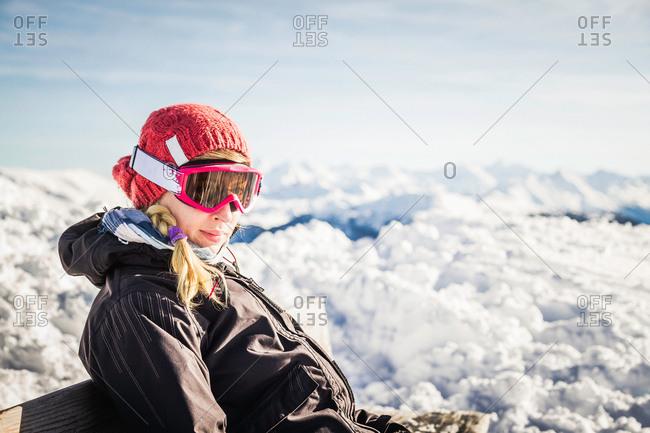 Portrait of female skier Kitzbuhel, Tyrol, Austria