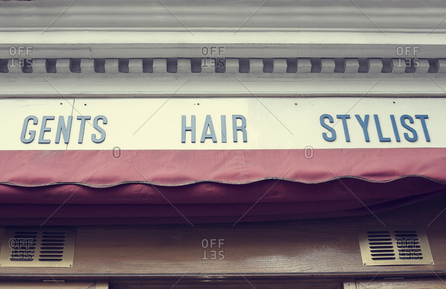 Barbershop sign and awning