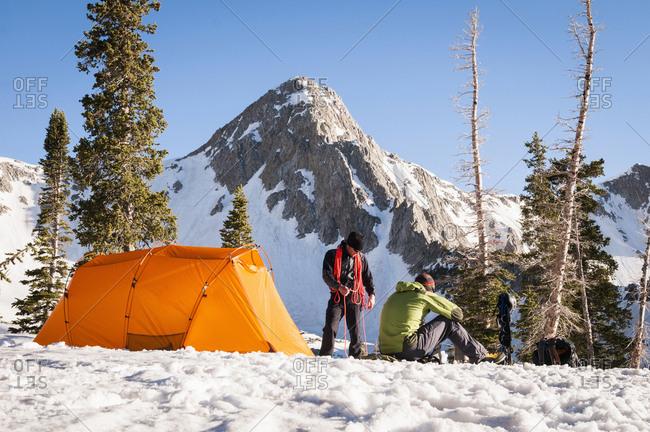 Camp on climbing trip up Pfeifferhorn, Maybird Basin, Lone Peak Wilderness, Wasatch Mountains, Utah, USA