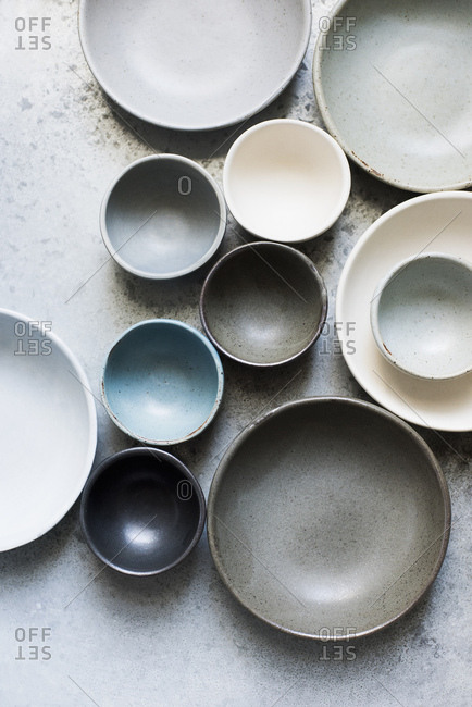 Overhead view of various sized ceramic bowls