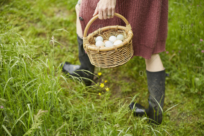 Cropped view of woman with basket of free range eggs