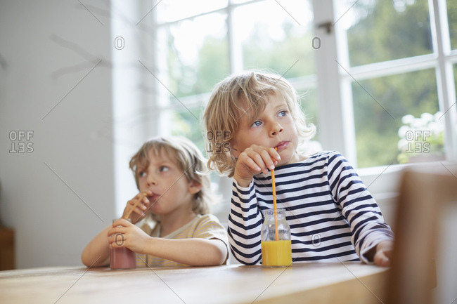 Two young brothers sitting at table drinking drinks with straws