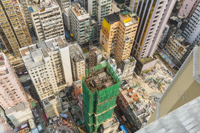 Skyscraper construction site, Central Hong Kong, China