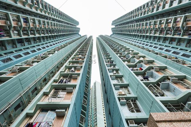 Mongkok apartment buildings, low angle view, Hong Kong, China