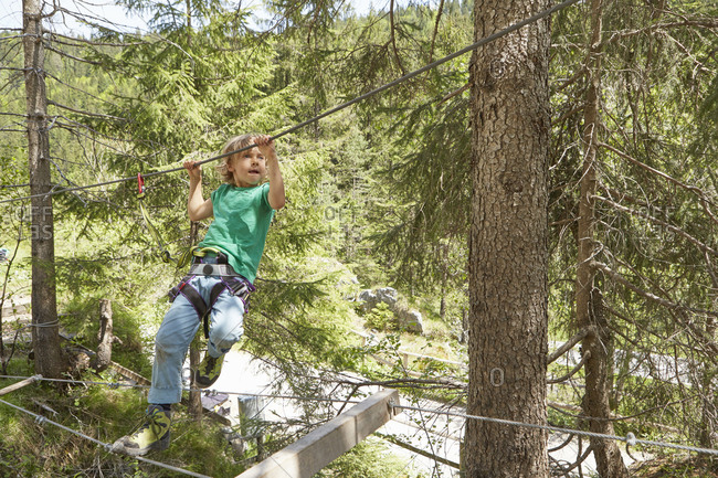 Boy moving along rope in forest, Ehrwald, Tyrol, Austria