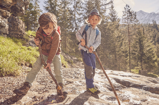 Two young boys, holding sticks, exploring forest