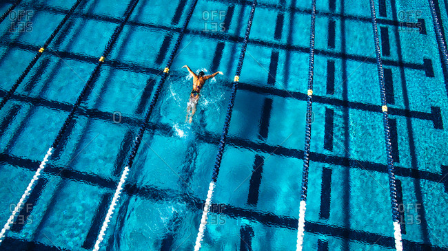 Overhead view of swimmer in pool
