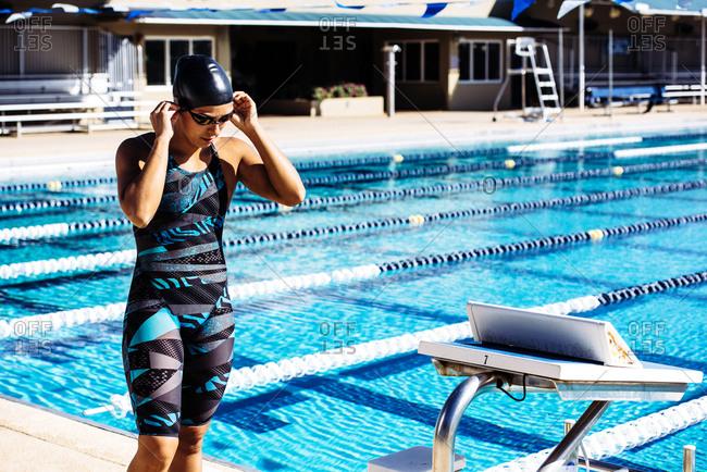 Swimmer preparing to go into pool