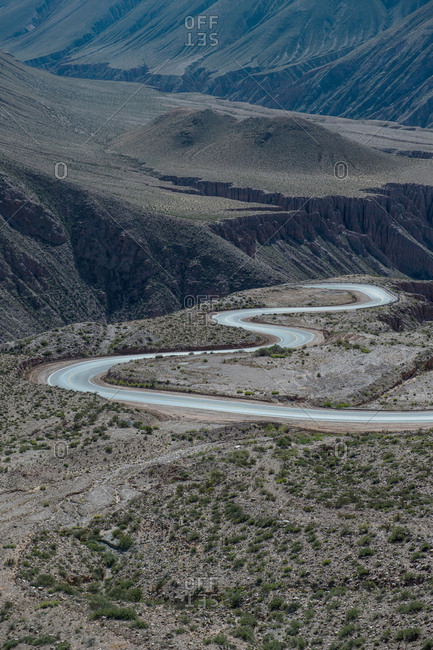 "Winding road leading up to the border ""Paso de Jama"" between Argentina and Chile, Jujuy, Argentina, South America"