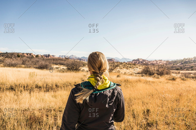 Woman looking at view, rear view, Zion National Park, Springdale, Utah, USA