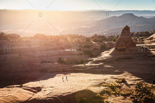 Hikers exploring Arches National Park, Moab, Utah, USA