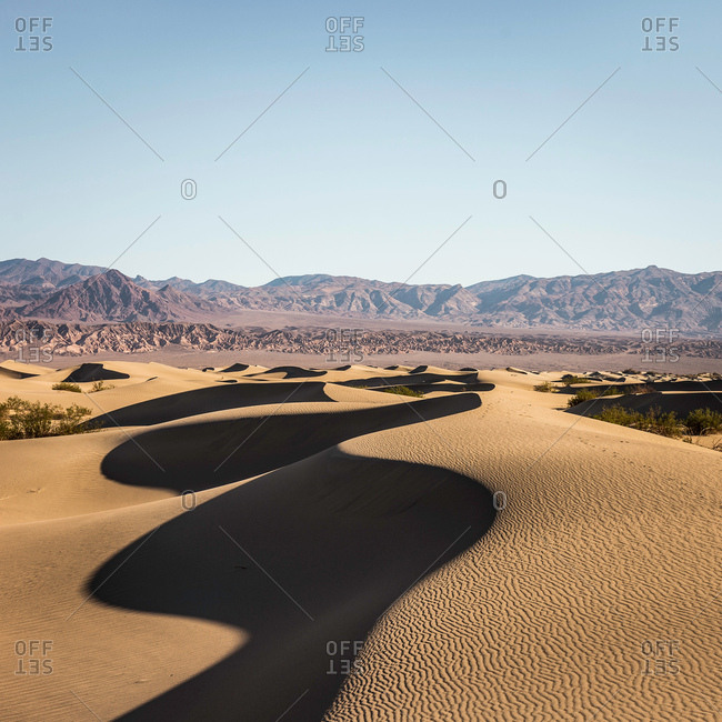 Shadowed Mesquite Flat Sand Dunes in Death Valley National Park, California, USA