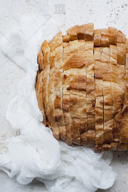 Still life of rustic sliced bread