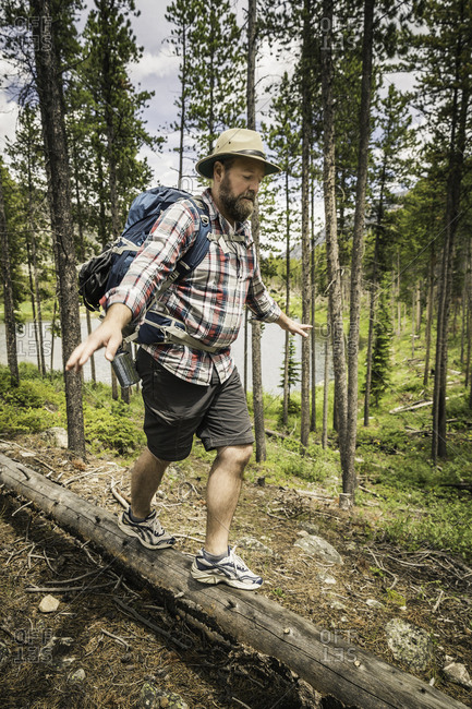 Mature man carrying backpack, arms open walking on fallen tree, Red Lodge, Montana, USA