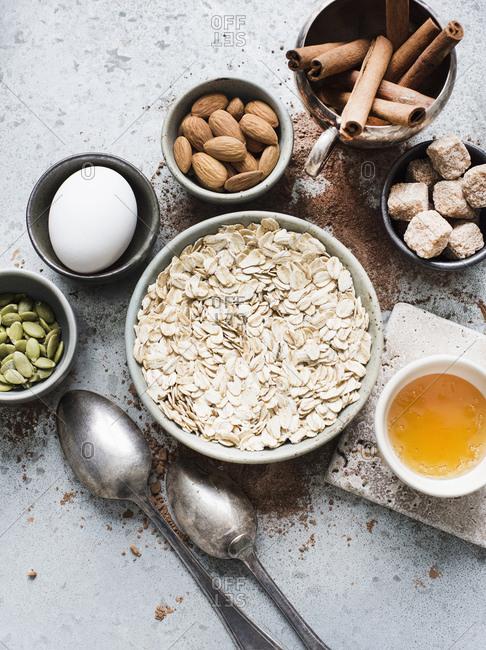 Ingredients for healthy cookies