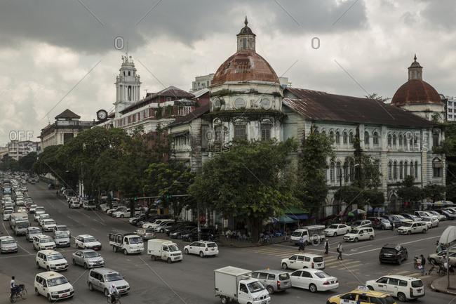 Yangon, Myanmar - 19 September 2016: Colonial building in downtown Yangon