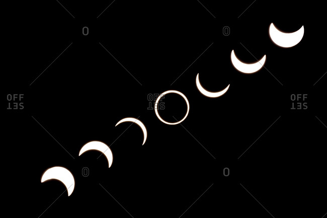 Different phases of a solar eclipse