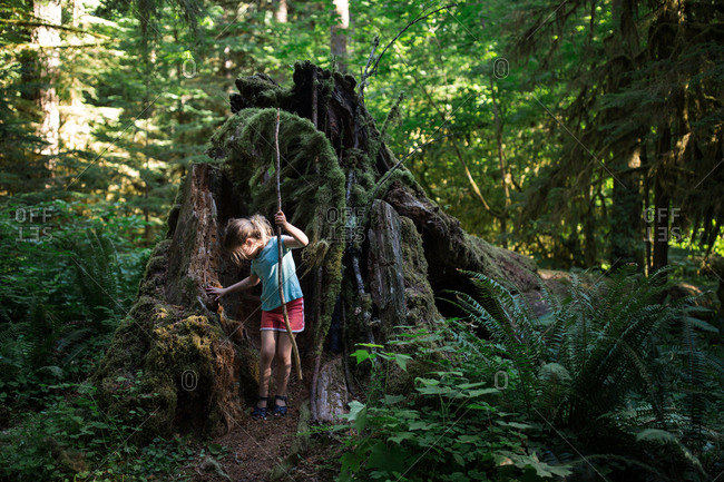 Girl standing by mossy tree trunk holding large stick in the forest