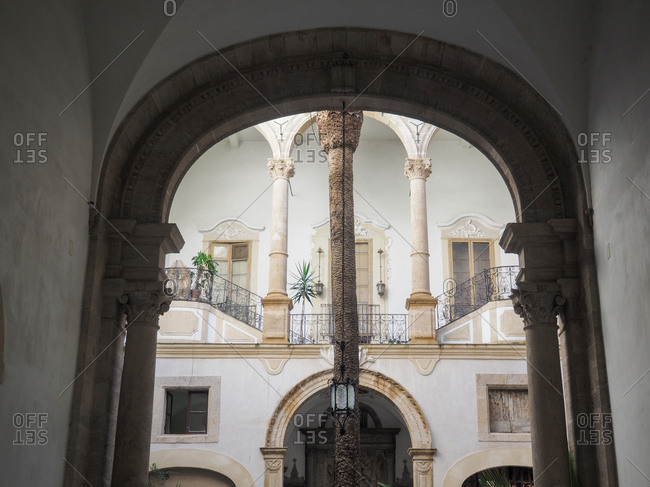 View of an inside of a building as seen from the arch, Palermo, Italy