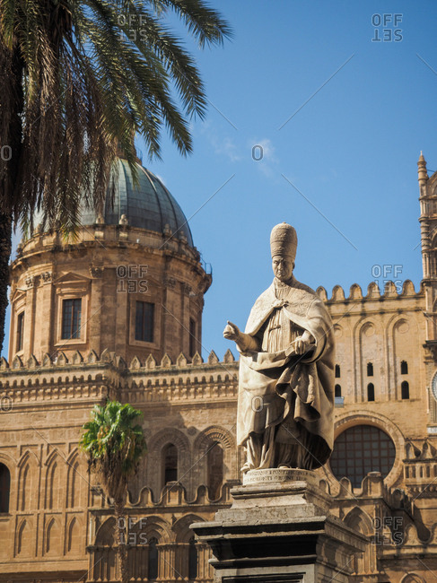 Statue outside cathedral  in Palermo, Italy