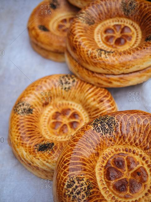 Decorative rounds of bread in Uzbekistan