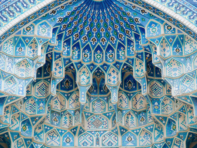 Tiled and sculptured ceiling in mosque, Uzbekistan