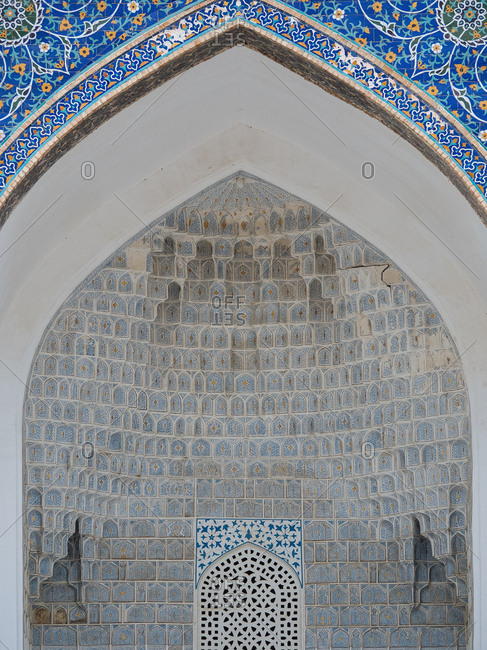 Detail of mosque architecture, Uzbekistan