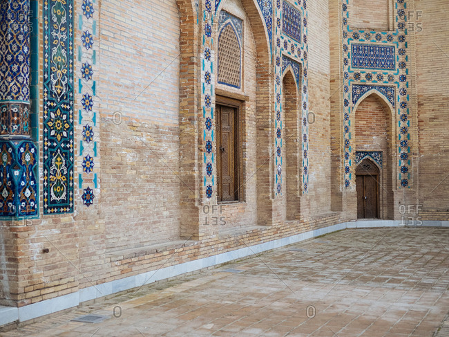 Historic building with decorative tilework in Uzbekistan