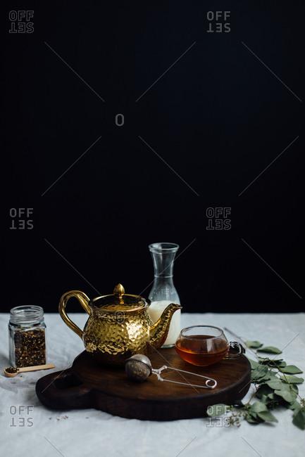 Still life of tea brewing accessories