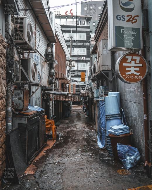 Seoul, South Korea - July 15, 2017: Alleyway in Seoul, South Korea