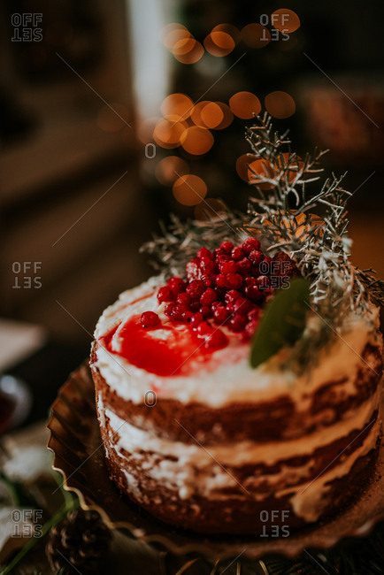 Winter inspired naked cake with frozen strawberries and redcurrant on top and Christmas lights in the background