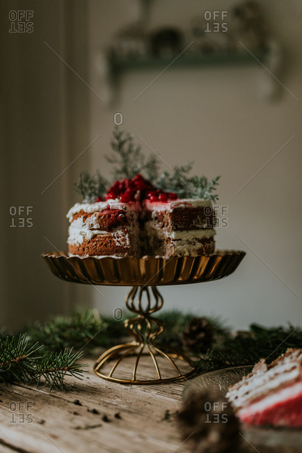 Winter inspired naked cake with frozen strawberries and redcurrant on top